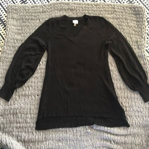 Black Sweater with Balloon Sleeves